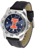 Illinois Fighting Illini  Sport Leather AnoChrome Watch Red Dial (Men's or Women's)