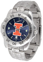 Illinois Fighting Illini  Sport Stainless Steel AnoChrome Watch Red Dial (Men's or Women's)