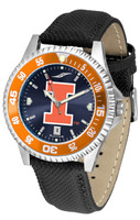 Illinois Fighting Illini  Competitor Leather AnoChrome Leather Watch - Red Dial w/Colored Bezel (Men's or Women's)