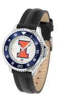 Illinois Fighting Illini  Competitor Stainless Steel Watch - White Dial (Men's or Women's)