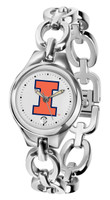 Illinois Fighting Illini  Ladies Silver Eclipse Link Watch - White Dial