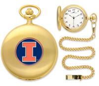 Illinois Fighting Illini  Gold Pocket Watch w/Chain