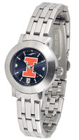 Illinois Fighting Illini  Ladies Silver Stainless Steel Dynasty AnoChrome - White Red Dial