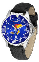 Kansas Jayhawks  Competitor Leather AnoChrome Leather Watch - Color Dial w/Colored Bezel (Men's or Women's)