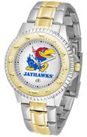 Kansas Jayhawks  Competitor 2-Tone 23k Gold Stainless Steel Watch - White Dial (Men's or Women's)