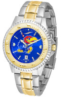 Kansas Jayhawks  Competitor 2-Tone 23k Gold AnoChrome Stainless Steel Watch - Color Dial (Men's or Women's)