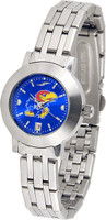 Kansas Jayhawks  Ladies Silver Stainless Steel Dynasty AnoChrome - Color Dial