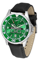 Marshall Thundering Herd  Competitor Leather AnoChrome Leather Watch - Green Dial w/Colored Bezel (Men's or Women's)