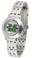Marshall Thundering Herd  Ladies Silver Stainless Steel Dynasty Watch - White Dial