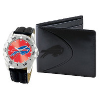 *Buffalo Bills NFL Men's Leather Watch and Leather Wallet Gift Set