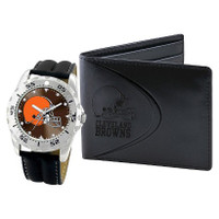 *Cleveland Browns NFL Men's Leather Watch and Leather Wallet Gift Set