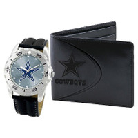*Dallas Cowboys NFL Men's Leather Watch and Leather Wallet Gift Set