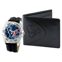 *Houston Texans NFL Men's Leather Watch and Leather Wallet Gift Set