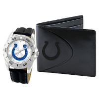 *Indianapolis Colts NFL Men's Leather Watch and Leather Wallet Gift Set