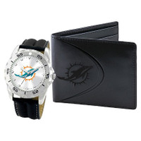 *Miami Dolphins NFL Men's Leather Watch and Leather Wallet Gift Set