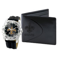 *New Orleans Saints NFL Men's Leather Watch and Leather Wallet Gift Set