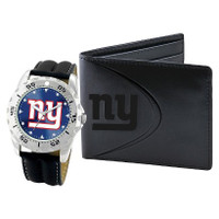 *New York Giants NFL Men's Leather Watch and Leather Wallet Gift Set