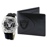 *Oakland Raiders NFL Men's Leather Watch and Leather Wallet Gift Set
