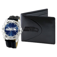 *Seattle Seahawks NFL Men's Leather Watch and Leather Wallet Gift Set