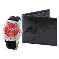 *Tampa Bay Buccaneers NFL Men's Leather Watch and Leather Wallet Gift Set