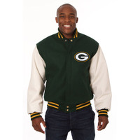 *Green Bay Packers NFL Men's Heavyweight Wool and Leather Jacket