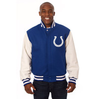 *Indianapolis Colts NFL Men's Heavyweight Wool and Leather Jacket