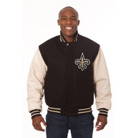 *New Orleans Saints NFL Men's Heavyweight Wool and Leather Jacket