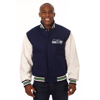 *Seattle Seahawks NFL Men's Heavyweight Wool and Leather Jacket
