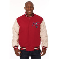 *Tampa Bay Buccaneers NFL Men's Heavyweight Wool and Leather Jacket