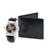 Baltimore Orioles MLB Mens Leather Watch and Leather Wallet Gift Set