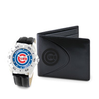 Chicago Cubs MLB Mens Leather Watch and Leather Wallet Gift Set