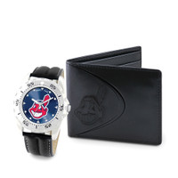 Cleveland Indians MLB Mens Leather Watch and Leather Wallet Gift Set