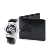 Colorado Rockies MLB Mens Leather Watch and Leather Wallet Gift Set