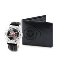 Houston Astros MLB Mens Leather Watch and Leather Wallet Gift Set