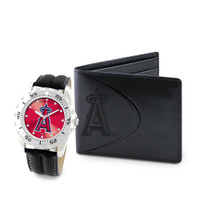 Los Angeles Angels MLB Mens Leather Watch and Leather Wallet Gift Set