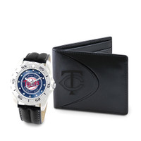 Minnesota Twins MLB Mens Leather Watch and Leather Wallet Gift Set