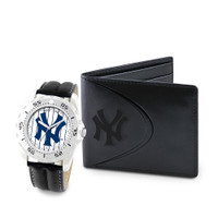 New York Yankees MLB Mens Leather Watch and Leather Wallet Gift Set