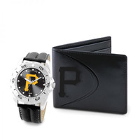 Pittsburgh Pirates MLB Mens Leather Watch and Leather Wallet Gift Set
