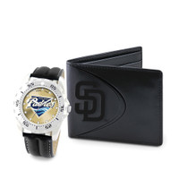 San Diego Padres MLB Mens Leather Watch and Leather Wallet Gift Set