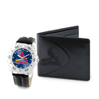 St. Louis Cardinals MLB Mens Leather Watch and Leather Wallet Gift Set