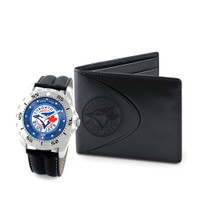 Toronto Blue Jays MLB Mens Leather Watch and Leather Wallet Gift Set