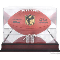 *Carolina Panthers Mahogany Football Team Logo Display Case with Mirror Back