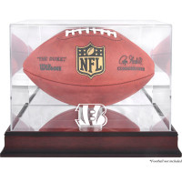 *Cincinnati Bengals Mahogany Football Team Logo Display Case with Mirror Back