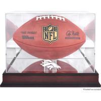 *Denver Broncos Mahogany Football Team Logo Display Case with Mirror Back