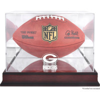 *Green Bay Packers Mahogany Football Team Logo Display Case with Mirror Back