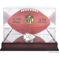 *Kansas City Chiefs Mahogany Football Team Logo Display Case with Mirror Back