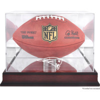 *New England Patriots Mahogany Football Team Logo Display Case with Mirror Back