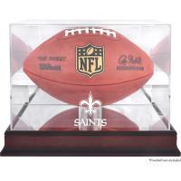 *New Orleans Saints Mahogany Football Team Logo Display Case with Mirror Back
