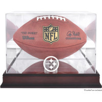 *Pittsburgh Steelers Mahogany Football Team Logo Display Case with Mirror Back