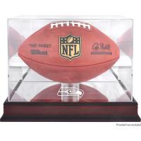 *Seattle Seahawks Mahogany Football Team Logo Display Case with Mirror Back